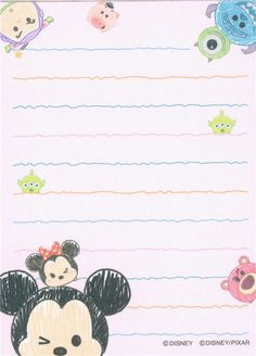 small cute memo pad with Disney Tsum Tsum characters Fundo Tsum Tsum, Mickey Tsum Tsum, Mickey Minnie Mouse, Free Printable Stationery, Cute Stationery, Stationary, Tsum Tsum Wallpaper, Wallpaper Fofos, Memo Notepad