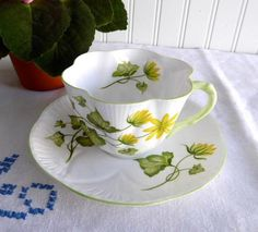 Shelley Celandine Dainty Shape Cup and Saucer English Bone China Green Trim Yellow Floral - Antiques And Teacups - 1