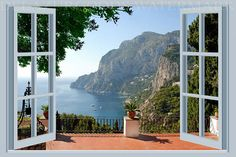 Removable Wall Murals, View Wallpaper, Photo Mural, Most Beautiful Wallpaper, Window View, Windows And Doors, Wall Decals, Mural Wall, Interior And Exterior