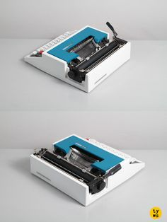 A smooth typewriter, with a remarkable Ettore Sottsass design! Typing a funky and unusual Techno typeface.