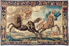 niobe tapestry - The Destruction of Niobe's Children A Highly Important Lambeth Tapestry From the series The Great Horses After designs by Francis Cleyn (1582 – 1658) With the Arms of Edward Brabazon, Second Earl of Meath England, circa 1665 17ft 5in width x 11ft 5in height 5.31m x 3.48m Provenance: Stapleford Park https://hemmahoshilde.wordpress.com/2016/02/10/great-horses-lost-and-found/