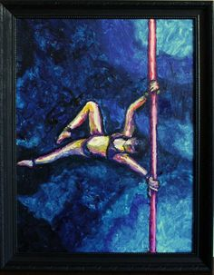 """Aerial Artist 1""  Original framed oil painting on canvasboard by Saskatoon, SK artist Michelle Durell  Painting: 18w x 24h ""  Recycled Frame: 21w x 27h x 2d""    This painting was created entirely left-handed (the artist's non-dominant hand) after experiencing a right shoulder injury while training in pole fitness. https://www.etsy.com/listing/125532720/aerial-artist-1-original-oil-painting-on?"