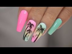 Nail art Christmas - the festive spirit on the nails. Over 70 creative ideas and tutorials - My Nails Beach Nail Designs, Acrylic Nail Designs, Nail Art Designs, Tropical Nail Designs, Design Art, Beach Nails, Sunset Nails, Summer Acrylic Nails, Best Acrylic Nails