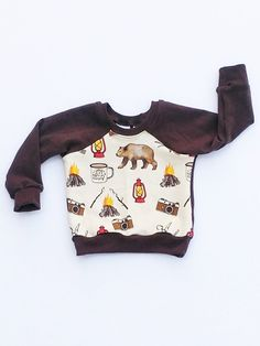 Let's Go Camping Sweatshirt: Handmade in Invermere B. Canada for adventurers by adventurers. ↠Soft French Terry material ↠Hand Made by moms Boys Fall Fashion, Toddler Fashion, Boy Fashion, Fasion, Fashion Clothes, Kids Clothing Canada, Canadian Clothing, Winter Outfits, Kids Outfits