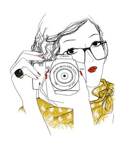 woman with camera drawing