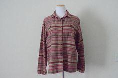 FREE usa SHIPPING vintage womens cotton button up shirt/ Woolrich/ striped pattern/ retro hipster nerdy geek size XL
