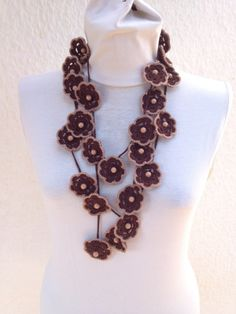 Crochet lariat scarf with Flower in brown with bead, Necklace, Crochet Floral Necklace, Feminine, Trendy, Infinity, Harvest,