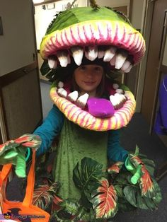 Dannielle: My daughter wanted to be Audrey II from the movie Little Shop of Horrors. We created the face mask with styrofoam and chicken wire filled with expanding spray foam. Which...