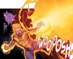 Human Torch Human Torch, Comic Panels, Iron Man, Neon Signs, Comics, Iron Men, Cartoons, Comic, Comics And Cartoons