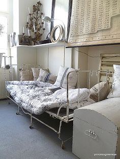 Antique Iron daybed and vintage wall map!