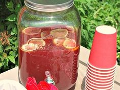 O Canada Party Punch1 can frozen pink lemonade from concentrate, thawed,1 L cranberry cocktail, 1 L Canada Dry ginger ale, Ice, Slice of lemon,     Combine lemonade with water, as per the directions on the can. Add the cranberry juice and 1 cup of ice and stir to combine; keep chilled.      Just before serving, add the ginger ale to the punch, along with another cup of ice and the lemon slices.