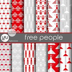 Red Digital Paper: FREE PEOPLE with red digital by YAUdigitalstore