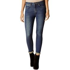 Karen Millen Skinny Jeans in Mid Wash ($110) ❤ liked on Polyvore featuring jeans, dark denim, blue jeans, skinny leg jeans, blue denim jeans, blue skinny jeans and frayed jeans
