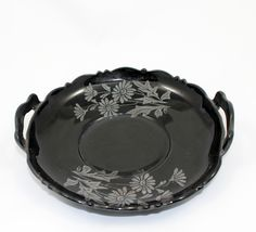 Vintage plate black amethyst depression glass plate with a beautiful silvery gray etching