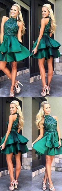 Homecoming Dress,Emerald Green Homecoming Dresses,Short Prom Dress,Beaded Prom…
