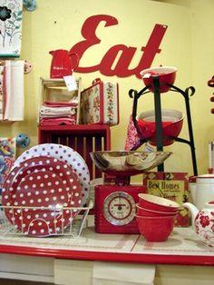 Vintage red kitchen decor...I always loved red and white retro kitchen's