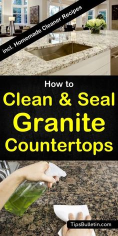 How to clean and seal granite countertops - quartz and more. With a detailed recipe for a homemade granite cleaner and granite sealer. Includes tips on how to polish and clean your kitchen counter tops in a natural way. Deep Cleaning Tips, House Cleaning Tips, Cleaning Solutions, Spring Cleaning, Cleaning Hacks, Diy Hacks, Cleaning Supplies, Granite Sealer, Cleaning Granite Countertops