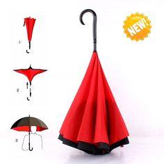 Amazon.com : Umbrella, Travel Umbrella Strong Waterproof/Uv protection, Sunny or rainy amphibious, J shape handle Double Layer Inverted Umbrella (Red) : Sports & Outdoors