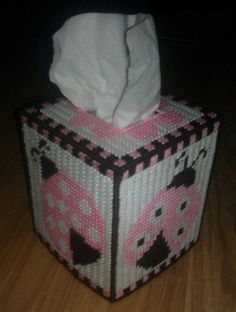 Ladybug Tissue Box Cover in Plastic Canvas by SpyderCrafts on Etsy, $9.99