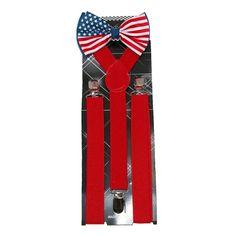CTM® Men's American Flag Bow Tie with Solid Suspender Set