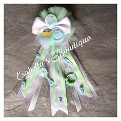 Mint green baby shower corsage;baby shower corsage;baby boy corsage;its a boy corsage;mom to be corsage by EsabellasBowtique on Etsy