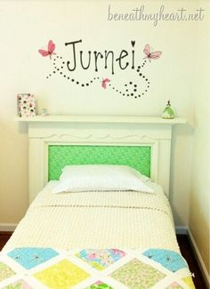 I'd paint the entire mantle black and use hot pink coloured fabric instead of the green for my girls beds :)