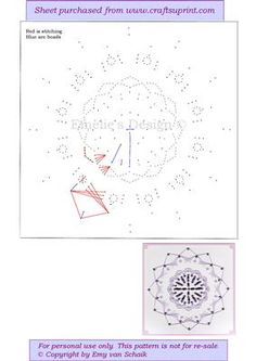 ED123 Geometric mandala on Craftsuprint designed by Emy van Schaik - Stitching with beads - Now available for download!