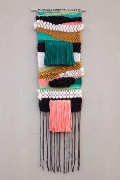Kaaterskill Falls / 2014 12 x 36 Wool, Cotton, Acrylic // Erika Sjogren Weaving Textiles, Weaving Art, Tapestry Weaving, Loom Weaving, Weaving Wall Hanging, Wall Hangings, Hanging Art, Weaving Projects, Textile Art