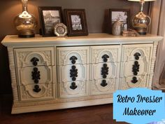 Ivory Chalkpainted Retro Dresser Makeover