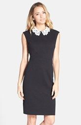 Betsey Johnson Crochet Collar Textured Sheath Dress