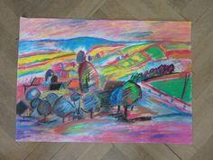 PINK LANDSCAPE Pastel painting by ArtbyEfka on Etsy