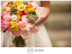 succulents, pink, yellow wedding bouquet