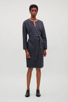 COS image 1 of Belted dress with slit neck in Navy Robe Fendue, Robe  Ceinturée 3938939a803a