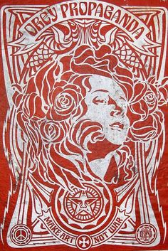 nyc brooklyn williamsburg motug collective obey giant nouveau red is part of Obey art - NYC Brooklyn Williamsburg MÖTUG collective OBEY Giant Nouveau Red Streetart Poster Illustration Photo, Illustrations, Street Graffiti, Graffiti Art, Yarn Bombing, Obey Art, Propaganda Art, Peace Art, Poster S