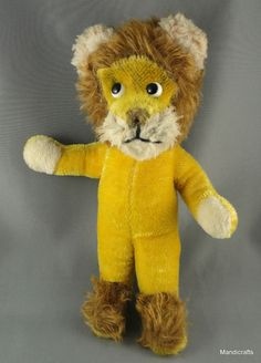 #Schuco #Lion Doll Yellow Lowe #Mohair Plush 25 cm Bendy 1960s no ID Glass Eyes