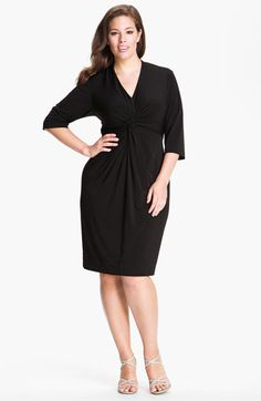 Donna Ricco Knot Front Jersey Dress (Plus Size) available at #Nordstrom