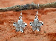 Dangle Plumeria Flowers Earrings With Center CZ by Silvershowroom