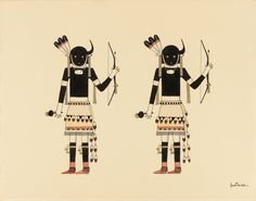 "Awa Tsireh, ""Buffalo Dancers"" (c. 1930–1940), watercolor and ink on paper"