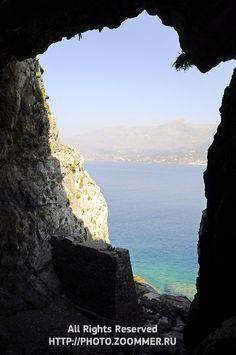 Libyan sea near Plakias (Crete) through the cave, Greece Amazing Photos, Cool Photos, Dream Land, Crete Greece, Santorini, Cave, In This Moment, Stock Photos, Island