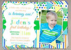 Boys 1st Birthday Rainbow Invitation / by InvitaitonsByLittleP