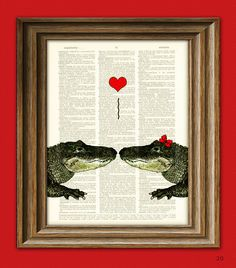 Alligator Art Print Romantic Alligator COUPLE in love with heart altered art dictionary page illustration book print. $7.99, via Etsy.