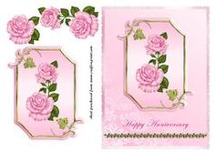 Pink Roses On Pink Plaque - Anniversary