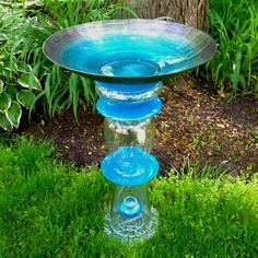 Glass Bird Bath I made for Mother's Day. There may be 1 crafty bone in my body.
