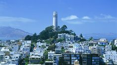 Coit Tower and Telegraph Hill. Paintings inside, finished in 1933.  Free to walk, elevator 7 dollars