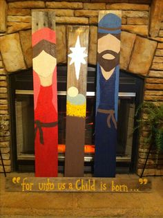 Painted pallet boards as Christmas decor. Or use any kind of boards, really.