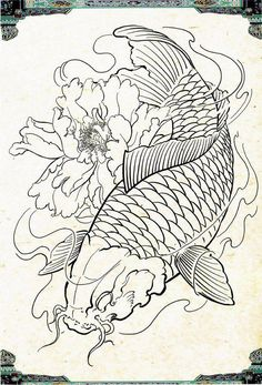 I sincerely appreciate the tones, lines, and linework. This is certainly a superb tattoo design if you want inspiration for a Animal Tattoos, Sketches, Fish Drawings, Sleeve Tattoos, Koi Tattoo Design, Japanese Tattoo Art, Japanese Tattoo, Koi Dragon Tattoo