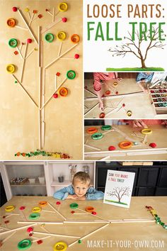 Fine Motor Fun: Create a Fall Tree with Loose Parts! Design a Fall tree with loose parts! This is a great way to manipulate various shaped objects within a space to create an image! Materials Tray (we used an expanding utensil tray) Containers Loose. Creative Activities For Kids, Autumn Activities For Kids, Fall Crafts For Kids, Creative Kids, Art For Kids, Autumn Crafts, Autumn Art, Autumn Trees, Leaf Crafts