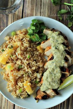 Grilled Chicken withTomatillo Roasted Poblano Cream Sauce by joyfulhealthyeats #Chicken #Tomatillos