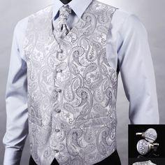 Kvalitná hodvábna pánska vesta + vreckovka, kravata a gombíky