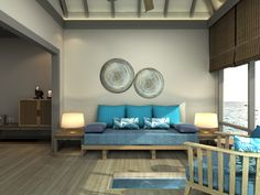 An artist's impression of the living room in one of our newly refurbished & upgraded Water Villas. All our villas will be fully refurbished and upgraded before November 2014. #JAmanafaru
